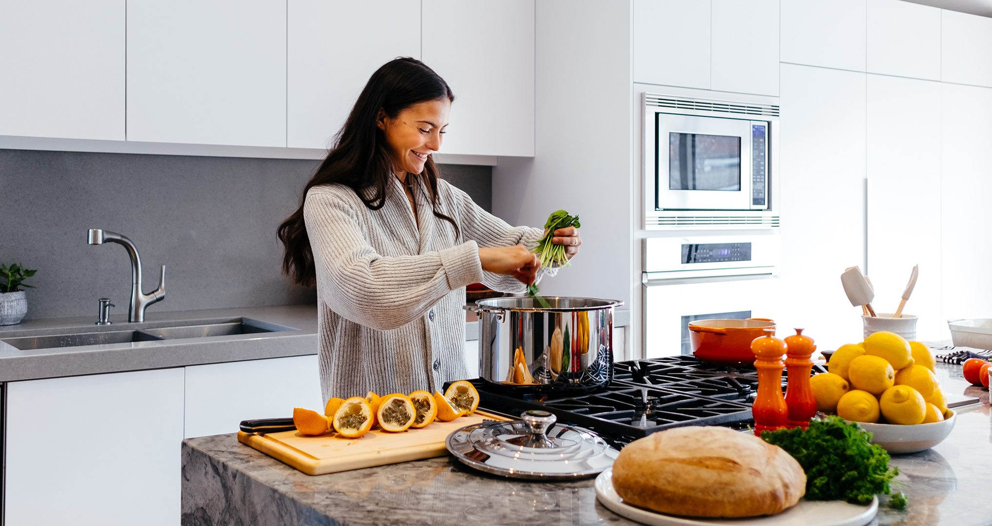 Woman cooking a healthy dinner for her family